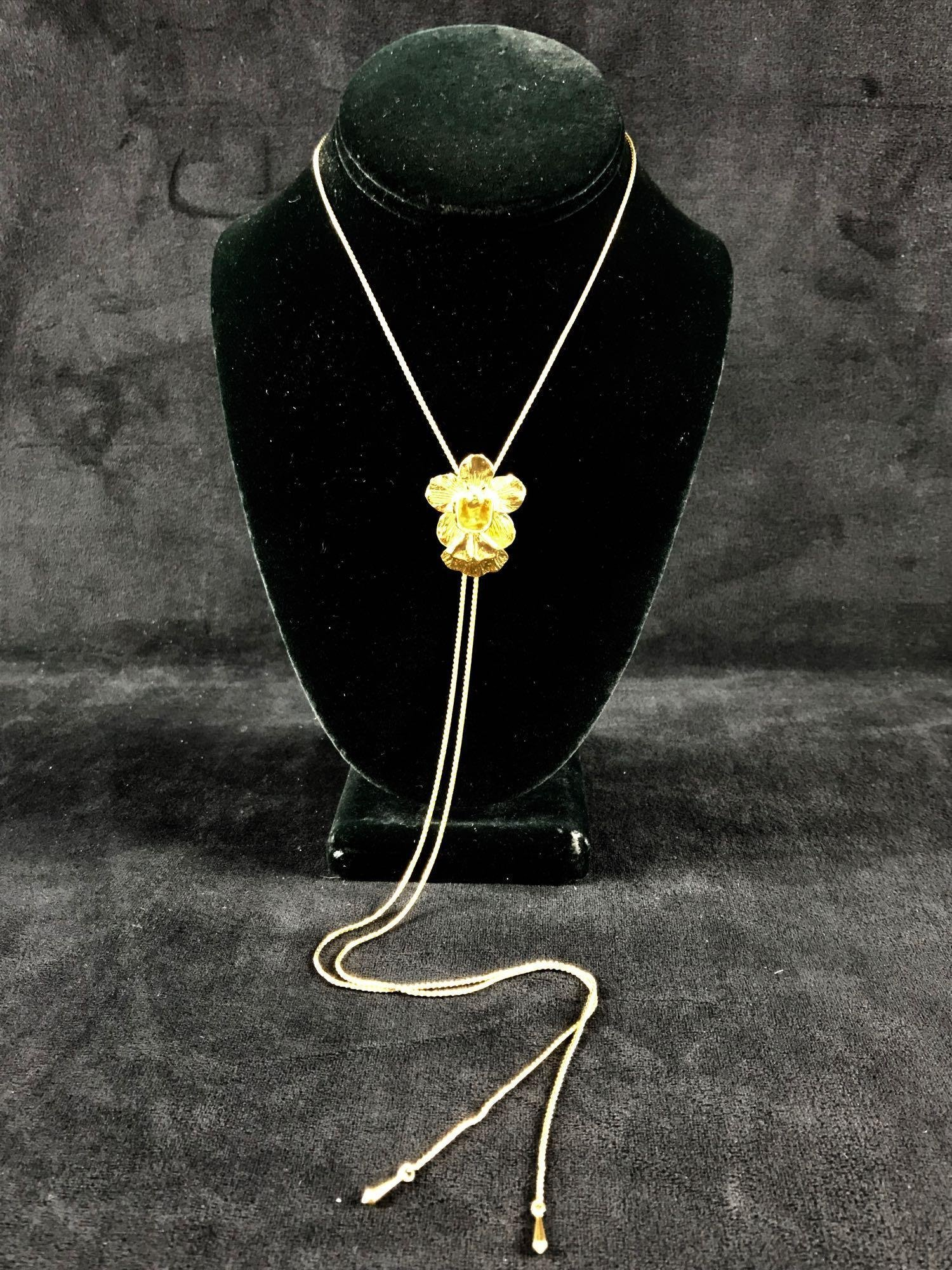 Risis Golds Toned Orchid Slider Necklace