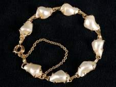 Vintage 14K Yellow Gold Natural Baroque Reborn Pearl
