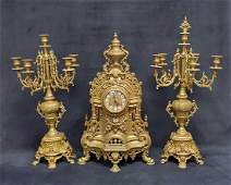 Antique Baroque Brass Imperial Mantel Shelf Italy Clock