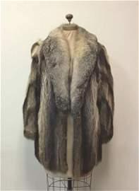 Raccoon with Fox Collar Fur Coat Vintage Fashion