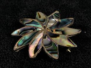 Vintage Mexico Handmade Sterling Silver & Abalone Shell
