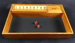 Vintage Wooden Shut The Box Dice Game