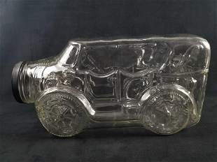 Large Clear Glass Cookie Jar In Shape Of Antique Car