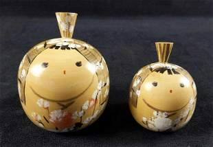 2 Wooden Apple Paperweights Chinese Smiling Faces