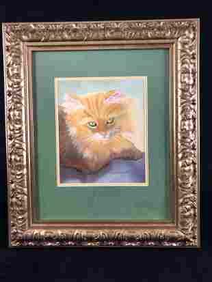 Vintage Signed Patrick D Clark Subject Cat Water Color