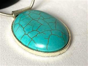 Silver Plated Turquoise Pendant And Snake Chain
