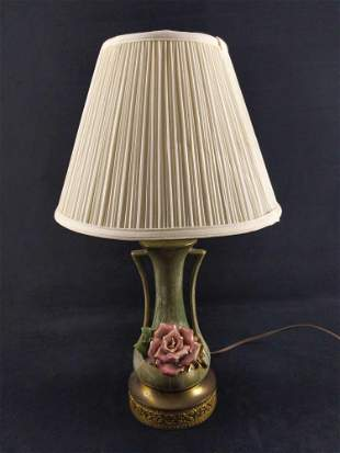 Vintage Ceramic Pink Rose Table Lamp With Shade