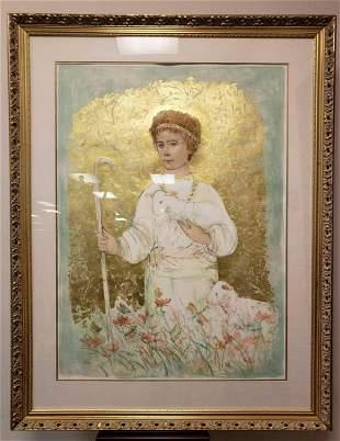 Edna Hibel Young Shepherd Signed Lithograph