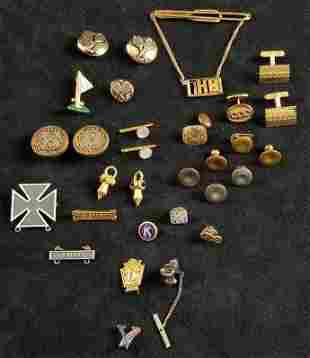 Assorted Vintage Lot of 30 Pins, Tie Tac/Bar, Cuff