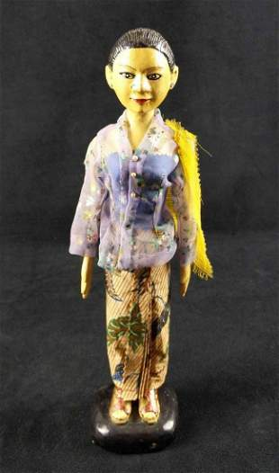 Hand Carved Light Wooden Indonesian Woman Doll