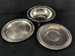 Vintage Silver Plated Mixed Lot Of 3 Platters & Bowl