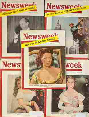 Vintage 1950s Newsweek Magazines Lot Of 5