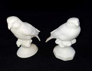 Two Vintage White German Bisque Porcelain Birds