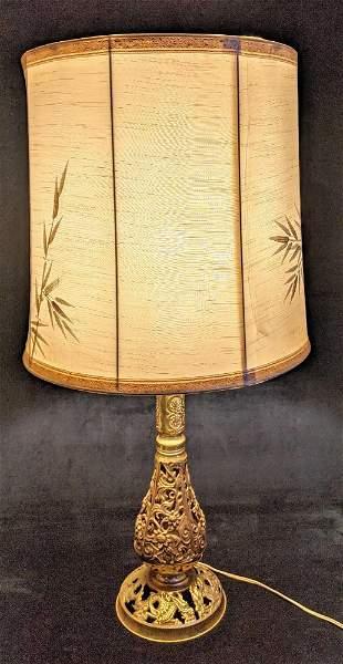 Vintage Filigree Cast Brass Flower And Dragon Lamp
