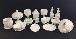 Milk Glass Vintage midcentury Housewares Lot of 15