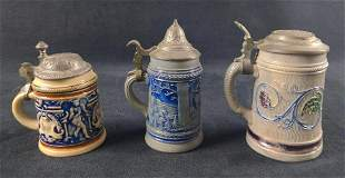 Three Vintage Handpained Ceramic Steins W Lids A