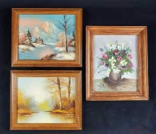 3 Vintage Original Acrylic Paintings Landscape Still