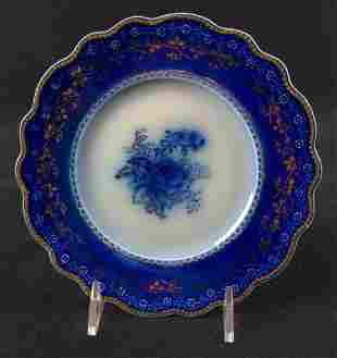 Antique Blue Rose Fine China Plates By Grindley