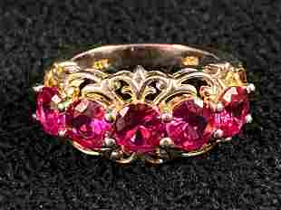 Vintage Sterling Silver Ruby 5 Stone Band / Ring