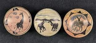 3 Safari Animals African Kenyan Ethnic Art Bowls