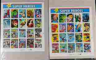 2 Sheets Of Marvel DC Comic Book Stamp Sheets