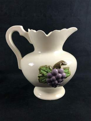 Large White Porcelain Water Pitcher  With Embossed