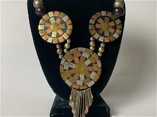 Vintage Native American Silver Copper Brass Mosaic Sun