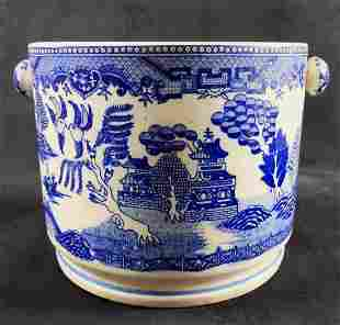 Antique Moriyama Japan Blue Willow Biscuit Jar No Lid