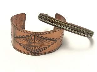 Vintage Copper Handmade Southwest Cuffs Lot Of 2