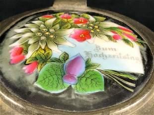 Vintage German Pewter Lid Hand Painted Enamel Flowers