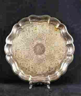 Scalloped Wallace Silver Plated Serving Tray Hollowware