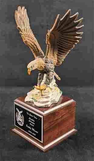 Large Eagle On Wood Base Award Mantlepiece