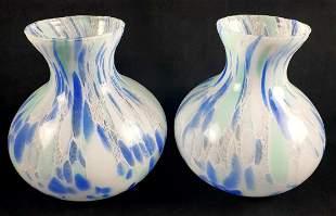 Set of 2 Dappled Italian Art Glass Vases