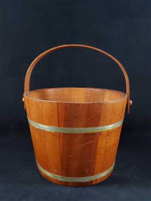 Vintage Sturdy Wooden Wishing Well Bucket