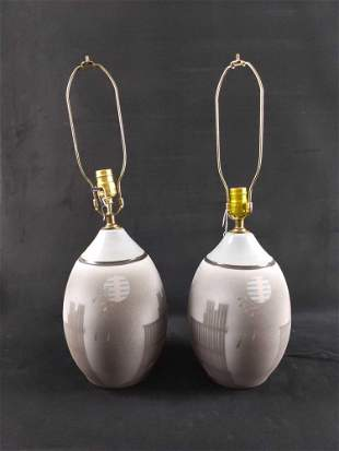 Two Vintage Ceramic 1980s Style Lamps Lot Of Two