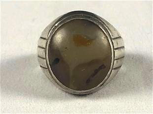 Vintage Sterling Silver Agate Signet Ring / Pinky Ring