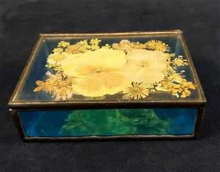 Vintage Glass Trinket Box With Pressed Flowers
