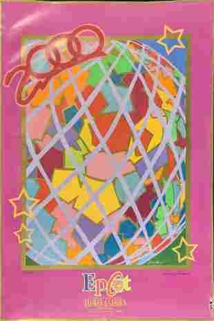 Signed Disney Epcot 2000 Flower Garden Show Poster A