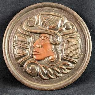 Hand Carved Round Mayan God Art