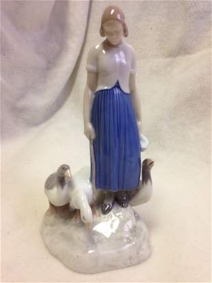 Vintage Bing & Grondahl Girl with Geese ceramic figure