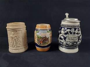 Vintage German Stoneware Stein Lot of 3