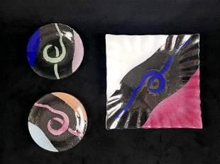 Signed Sydenstricker Set of 3 Fused Art Glass Plates