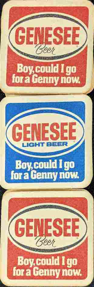Vintage Genesee Beer Light Beer 2 Sided Coasters