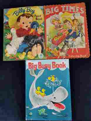 Vintage Coloring Books Lot Of Three Farm And Whale