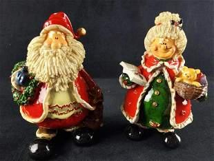 Vintage Hand Painted Resin Santa Mrs Claus Figures