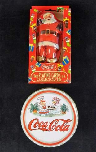 Coca Cola Santa Playing Cards And Mice Ornaments