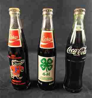 Three Vintage Coca Cola Bottles Gators Rock Eagle
