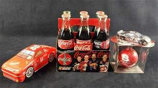 Coca Cola NASCAR Bottles Tin Keychain Ornament