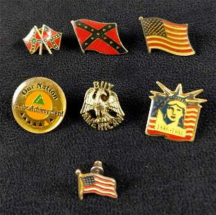 Seven Vintage Flag Pins Tie Tacks USA Confederate