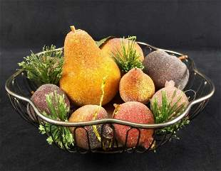 Silver Plated Basket With Decorative Fruit